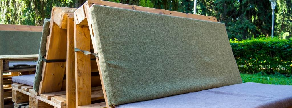 wooden pallet sofa with foam cushions